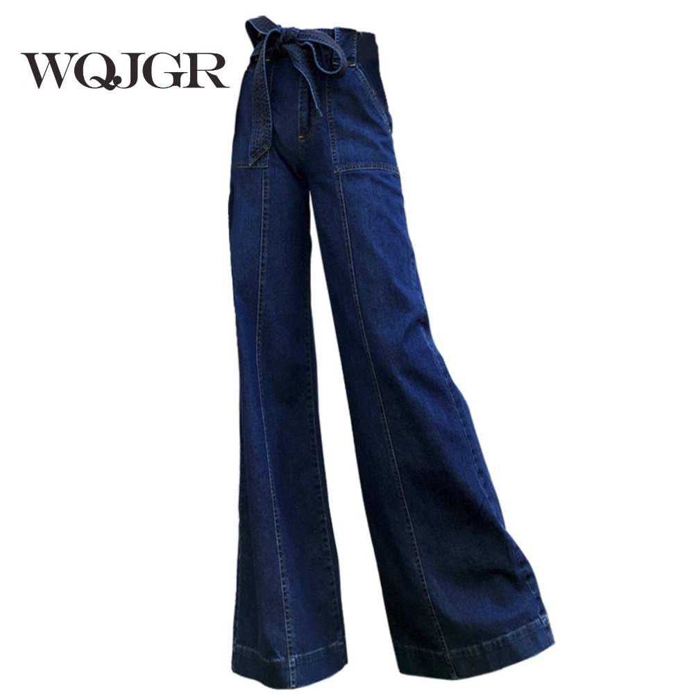 WQJGR Jeans Woman Spring And Autumn Pattern Fashion High Waist Easy Thin Section Directly Barrel Wide Leg Pants Trousers Women colorful brand large size jeans xl 5xl 2017 spring and summer new hole jeans nine pants high waist was thin slim pants