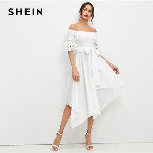 Image 1 - שיין אלגנטי לבן לייזר לחתוך שרוול ממחטת Hem כבוי כתף שמלת נשים מוצק חגור Fit ואבוקת קיץ המפלגה midi שמלות