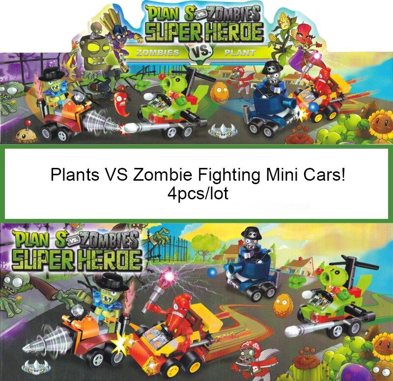 4pcs lot plants vs zombies Fighting Mini Car toy action toy figures anime figure Building Blocks