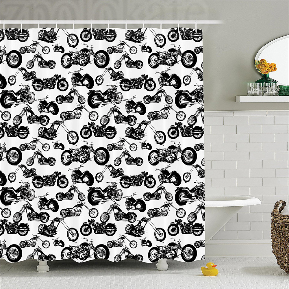 Manly Decor Shower CurtaIn Set Different Models Of Motorbikes Race Adventure Amusement Extreme Sport Theme Bathroom Accessories