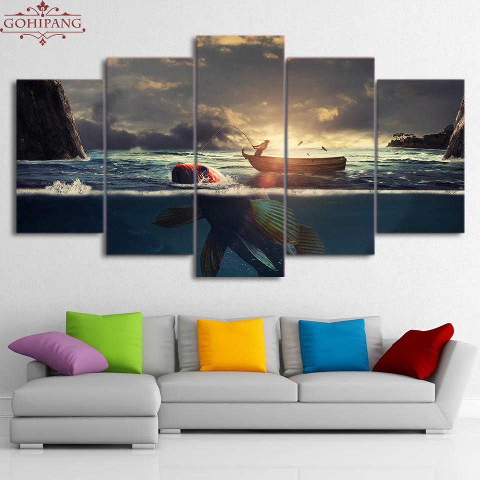 Gohipang Framed Home Decor Canvas HD Printed Pictures Framed 5 Pieces Sunset Fishing Boat Paintings Big Fish Landscape Posters