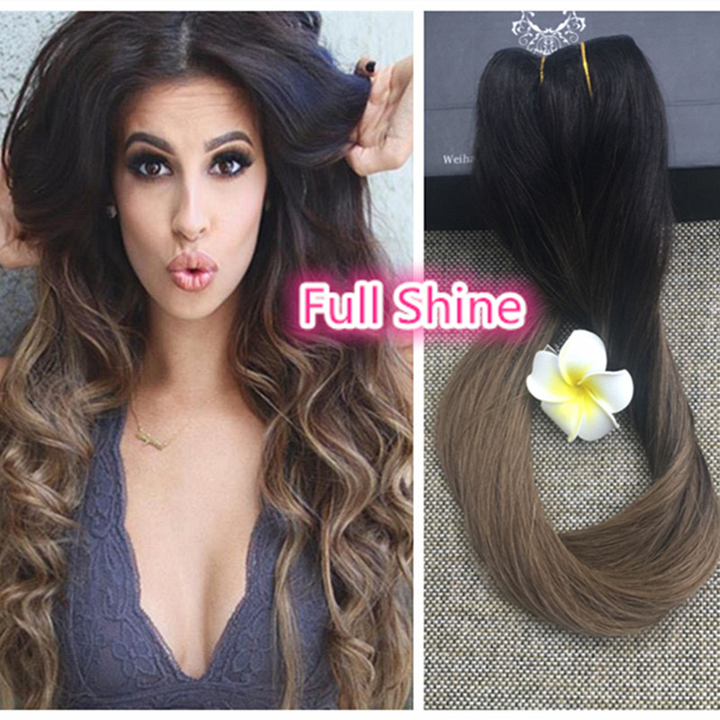 Full Shine 2016 One Piece Clip Ins Ombre Balayage Color 2 Fading to 8 Clip in