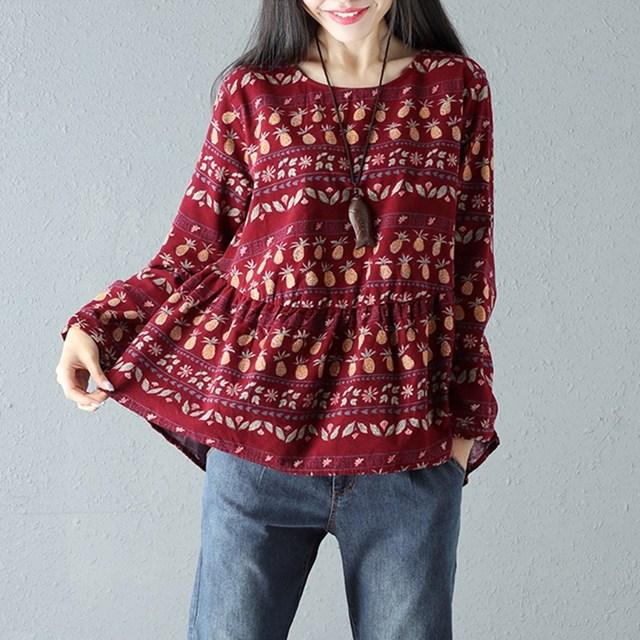 4c5ac0fd77b ZANZEA Spring Women Boho Ruffles O Neck Long Sleeve Shirt Floral Print  Cotton Linen Splice Loose Retro Blouse Pullover Plus Size