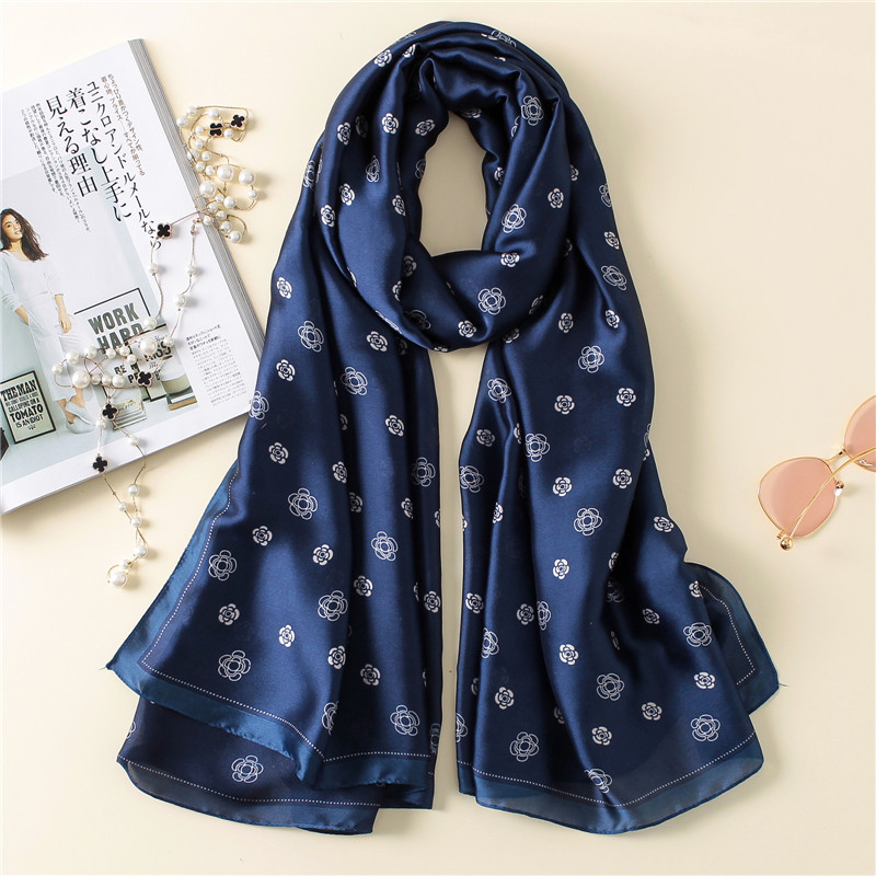 long popular silk scarf  Luxury Brand women's scarf floral Print Shawl fashion muslim hijab headband Wraps Pashmina Bandana