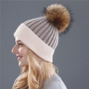 Image 3 - Xthree zimowa wełniana czapka z dzianiny czapka prawdziwa norka futro pompony czapka z czaszkami dla kobiet dziewczynki kapelusz feminino