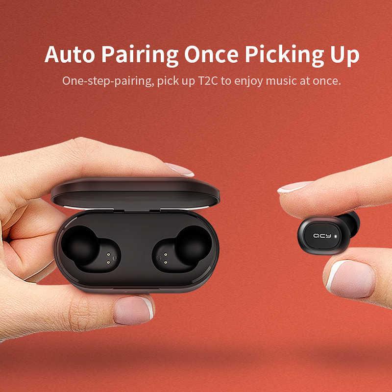 QCY QS2 QS1 T1S Bluetooth TWS V5.0 zestaw słuchawkowy sportowe słuchawki bezprzewodowe 3D słuchawki stereo Mini w ucho podwójny mikrofon okno ładowania