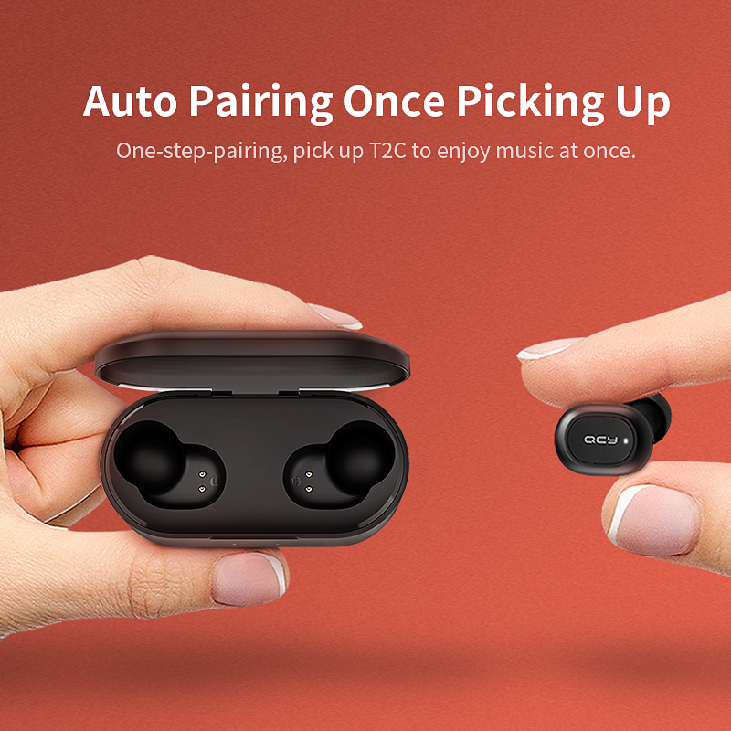 qcy qs2 tws bluetooth earphones or earbuds mini with dual microphone and charging box