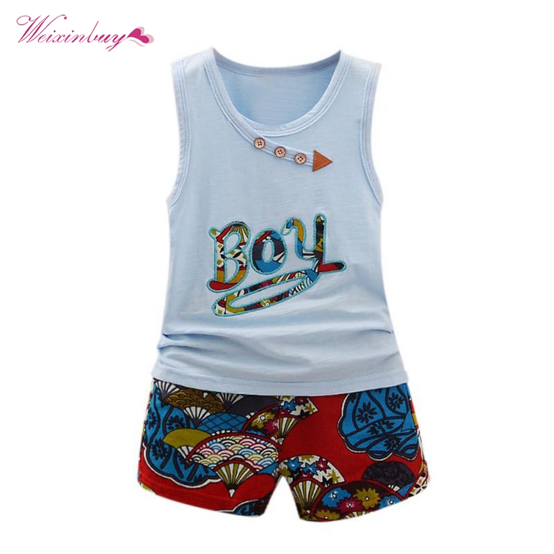 2017 Fashion Clothes Set Summer Letter Print Sleeveless O-Neck Baby Boys Top + Casual Flower Pattern Pants casual sleeveless letter pattern tank top monster print pants twinset for boys