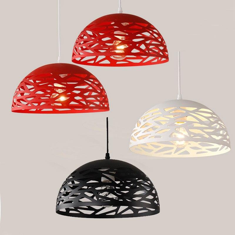 Salle à manger scandinave moderne Simple demi-sphère Led pendentif lumière étude chambre lampe Art Bar petit évider abat-jour suspendu