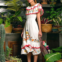 Boho Embroidery White Midi Dress Casual Women Ruffled Slash Neck Frilled A Line Dress Crochet Off the Shoulder Summer Dresses