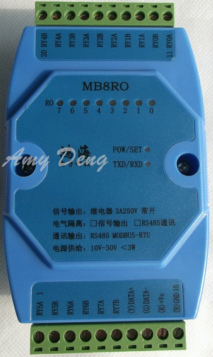 Schaltausgang modul, 8 way relais, isoliert typ RS485, MODBUS, RTU ...