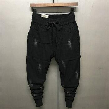 2018 Summer New Black Feathers Print Men's Pencil Pants Elastic Cotton Linen Ankle-Length Causal Harem Trousers Middle Waist Boy