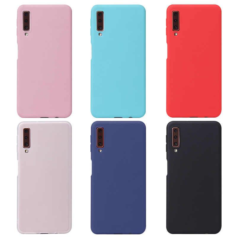 كاندي اللون الهاتف حقيبة لهاتف سامسونج غالاكسي A70 A50 M10 M20 A30 ماتي الصلبة غطاء لسامسونج J4 J6 Plus J8 2018 S10 S10e S10 Plus