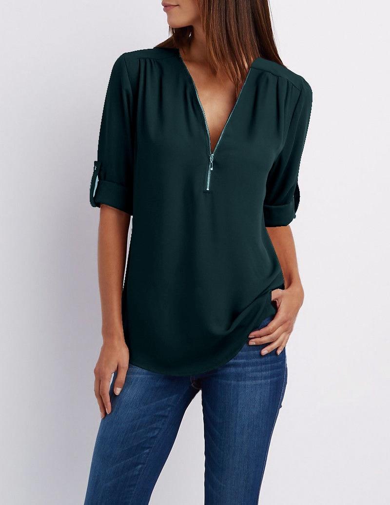 LOSSKY fashion v neck short sleeve summer chiffon womens tops 17