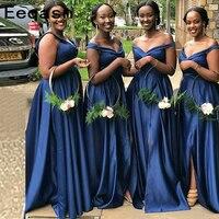 Elegant 2020 Cheap Bridesmaid Dresses Under 50 A line Stretch Satin Long Wedding Party Dresses For Black Women