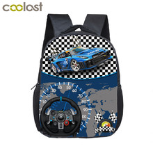 12 inch Kids Racing Car Small School Bags Child cartoon Backpacks Boys