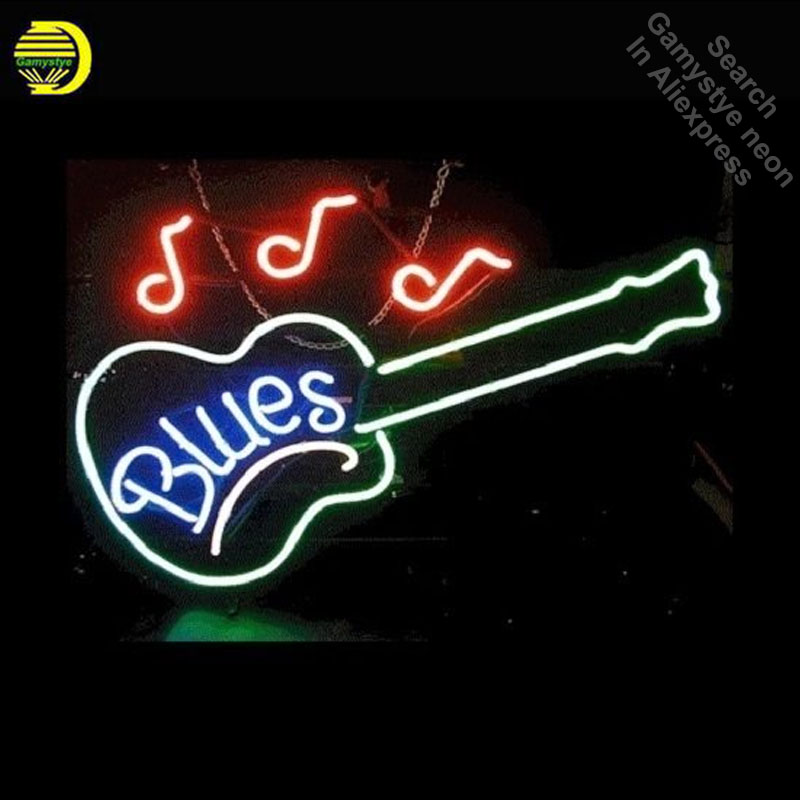 Blues Guitar Music Neon Sign Gift Handcrafted Neon Bulbs Sign Glass Tube Iconic Decorate Wall Lamp signs personalized Advertise цена