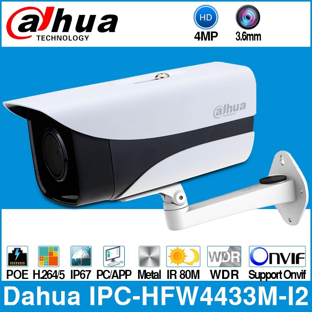 Dahua IPC-HFW4433M-I2 IP Camera 4MP 80m IR Bullet POE Network Camera H.265 Smart Detect IP67 WDR ONVIF With Bracket DS-1292ZJ