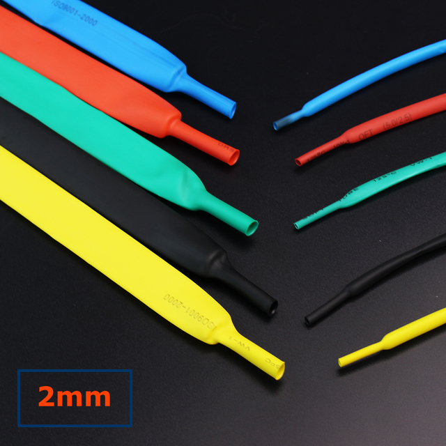 1meterlot 21 heat shrink tubing 2mm coloful shrink tube cable insulation sleeves