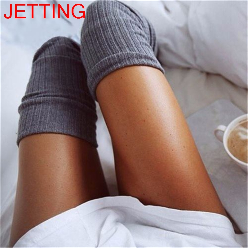 65cm Women Girl Thigh High Stockings Knee High Socks 5 Colors Long Cotton Warm Over The Knee Socks
