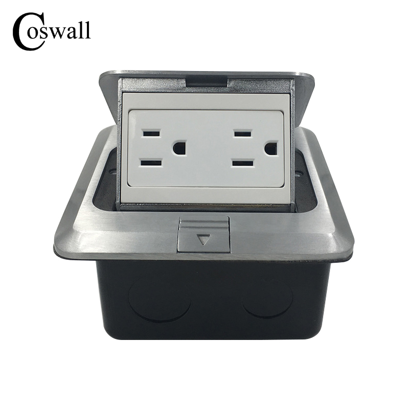Coswall Manufacturer All Aluminum Silver Panel Pop Up Floor Socket US Standard Double Power Outlet 120mm*120mm manufacturer all aluminum panel uk standard pop up floor socket single power outlet rj45 audio 10 pcs set