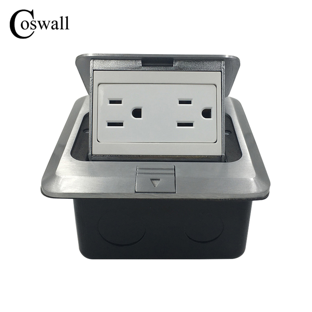Coswall Manufacturer All Aluminum Silver Panel Pop Up Floor Socket ...