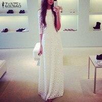 Hot 2015 Women Spring Autumn Dress Half Sleeve O Neck Lace Bodycon Elegant Slim Dresses Floor