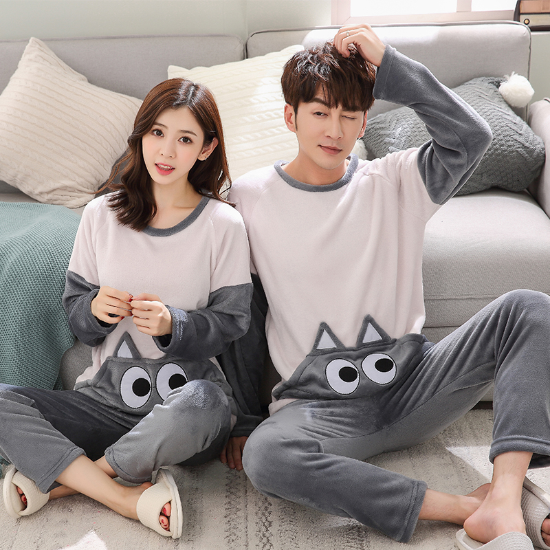 -Flannel Winter Women Warm Printing Cartoon Cat   Pajamas   with Long Sleeve Long Pant Plus Thick O Neck Home Wear Suit   Pajama     Sets