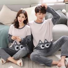 -Flannel Winter Women Warm Printing Cartoon Cat Pajamas with Long Sleeve Long Pa