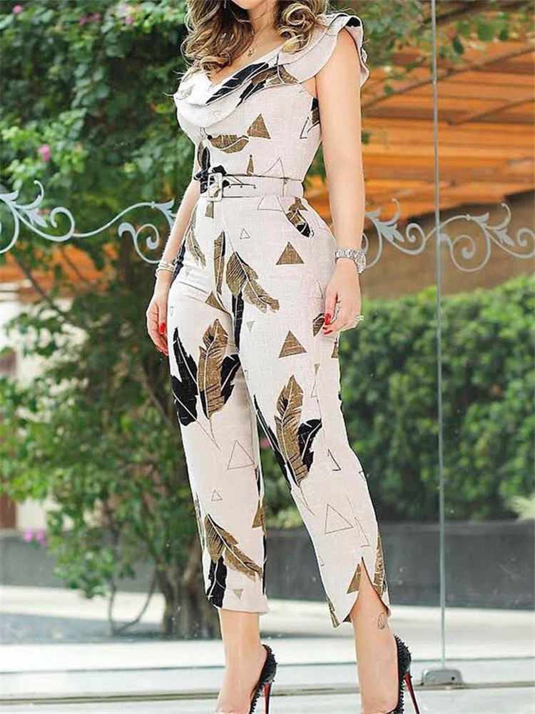 2020 Summer Women Elegant Sleeveless V-Neck Casual Jumpsuit Slim Fit Leaf Print Layered Ruffle Split Leg Jumpsuit