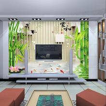 3D custom large mural of green bamboo good Lucky for household TV wall background wallpaper decor formaldehyde -free panorama