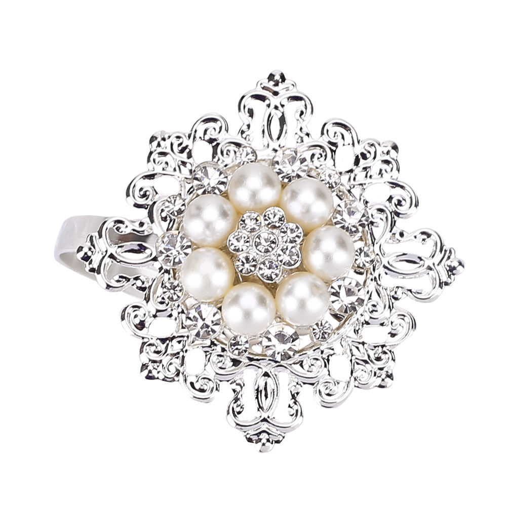 6PCS/Set Napkin Ring Pearl Rhinestone Buckle Festival Decors Gold Silver Home Dinner Table Decoration Ring For Wedding