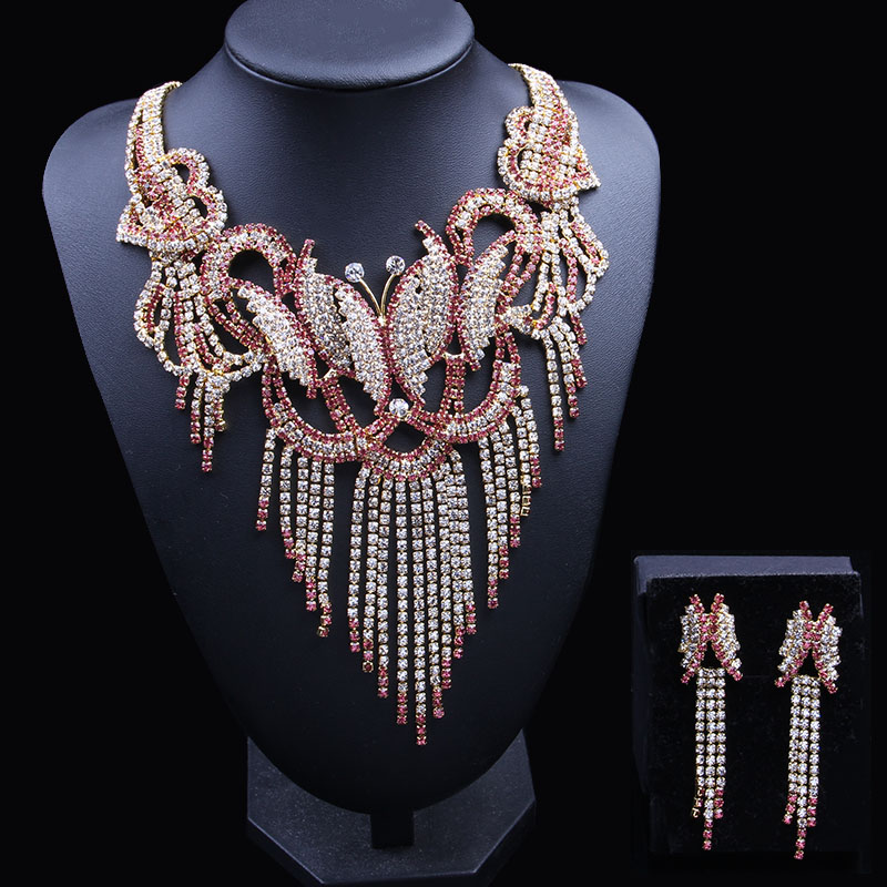 Newest Butterfly Dubai Gold Jewelry Sets for Women 2018 Rhinestone African Jewelry Set Earrings And Necklace Nigerian Wedding attractive rhinestone embellished necklace and a pair of earrings for women