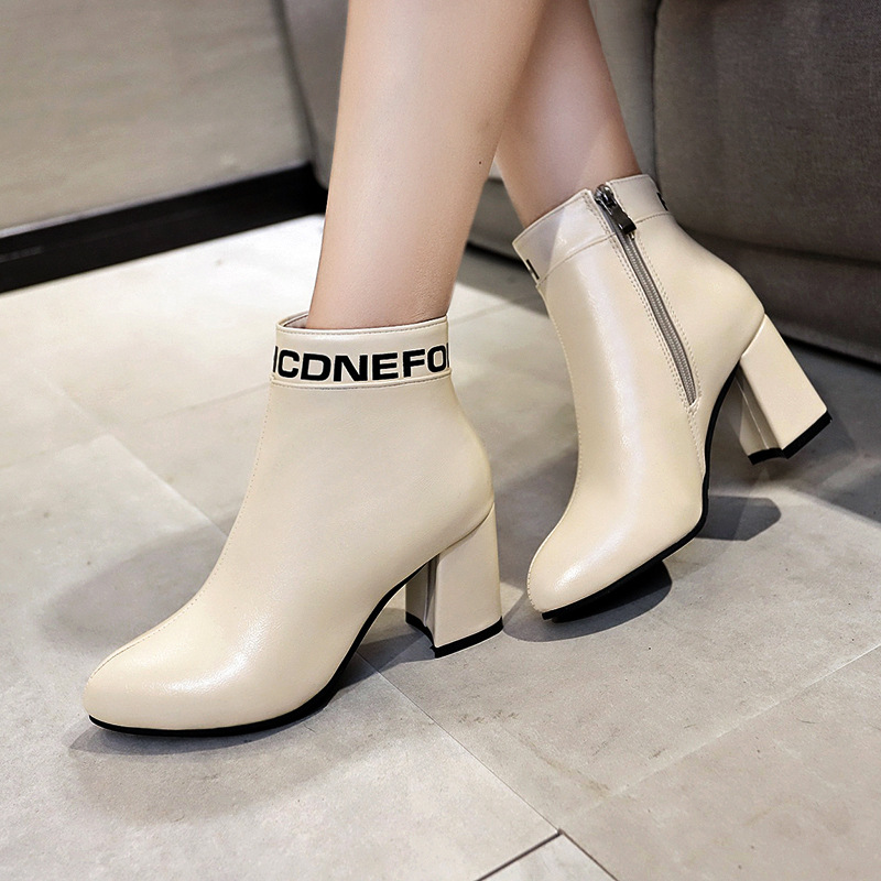 Women 39 s Martin boots autumn and winter 2019 new high heeled wild plus velvet warm pointed thick with fashion women boots in Ankle Boots from Shoes