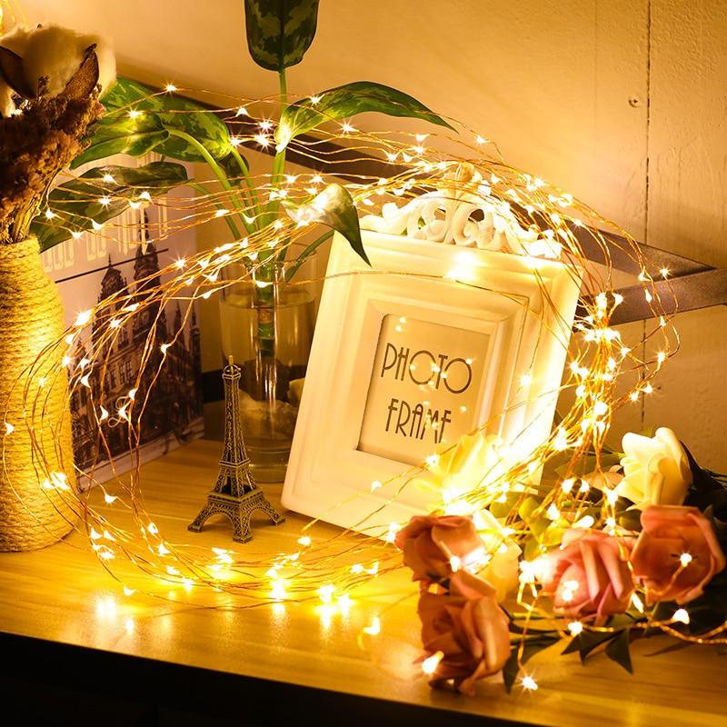 LED String Fairy Licht 1-10M Girlande CR2032 AA auf Batterie Powered Kupferdraht Wasserdicht für Outdoor Weihnachten dekoration