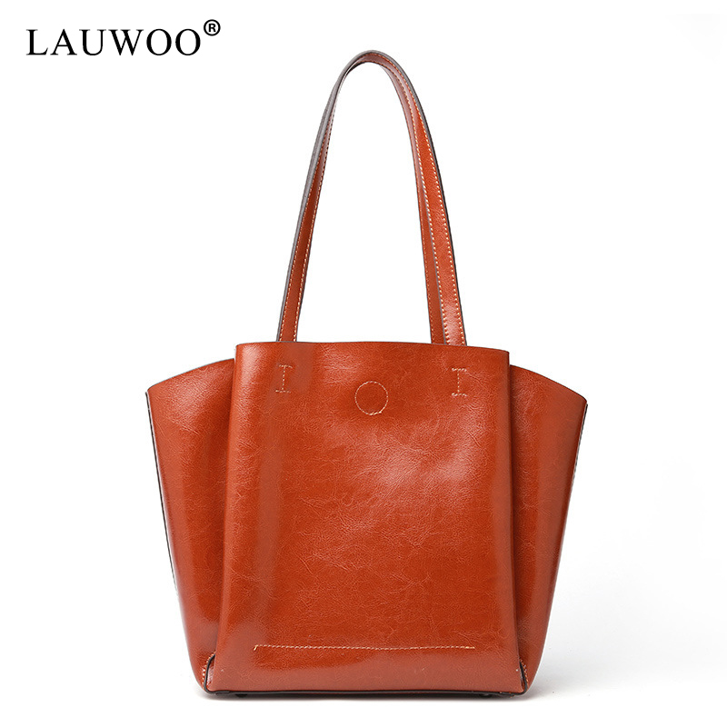 LAUWOO Women Genuine Leather Top Handle Satchel Daily Work Tote Shoulder Bag Large Capacity Tote Bags women bags 2017 original design vintage top handle genuine leather rivets satchel shoulder crossbody handbag big tote