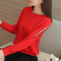 2017 New women sweater Fashion spring Autumn Hollow out Lace Beading long warm loose sweaters women Knitted pullover sweaters