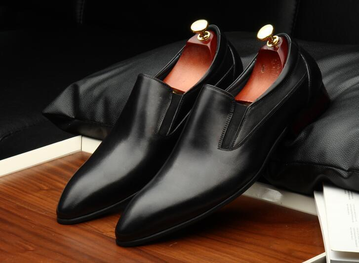 Man Genuine Leather Handmade Oxfords Shoes 2018 Pointed Toe Slip On Slim Mens Wedding Tuxedo Shoes Business Formal Oxfords pu slip on plain round toe mens oxfords