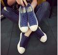 Бесплатная доставка Весна Лето Студенты Мыть Джинсовой Парусиновые Туфли Blue Lace-Up Женская Обувь Zapatos Mujer Повседневная Обувь 35-40