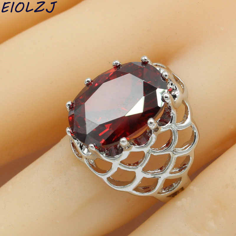 ผู้หญิง 925 แหวนเงินแท้แหวนรูปไข่ทับทิมสีแดง Zircon หญิง Anillo ฟรีกล่องเครื่องประดับปรับแต่ง Drop Shipping