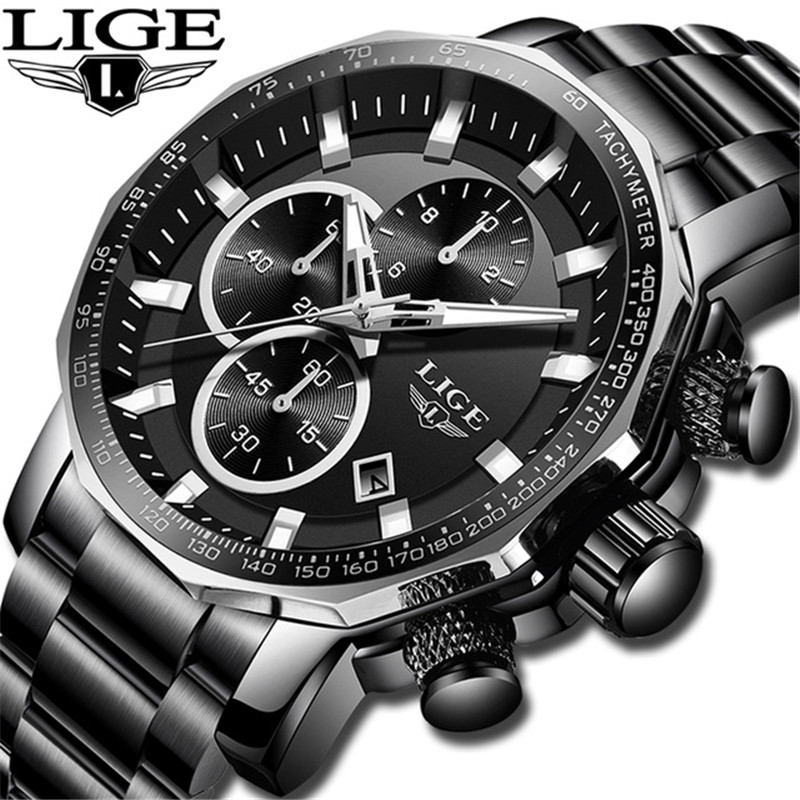 LIGE 2019 New Top Brand Men's Watches Fashion Military Sport Watch Men Stainless Steel Quartz Casual Wristwatch Relogio Masculin