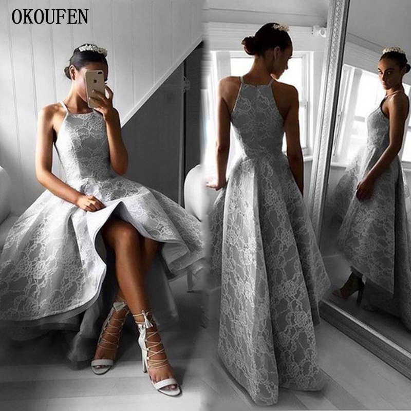 2019   Prom     Dresses   Lace SIlver Grey High Low Halter Sexy Asymmetrical Evening   dress   Wedding Party Gowns vestidos de fiesta largos
