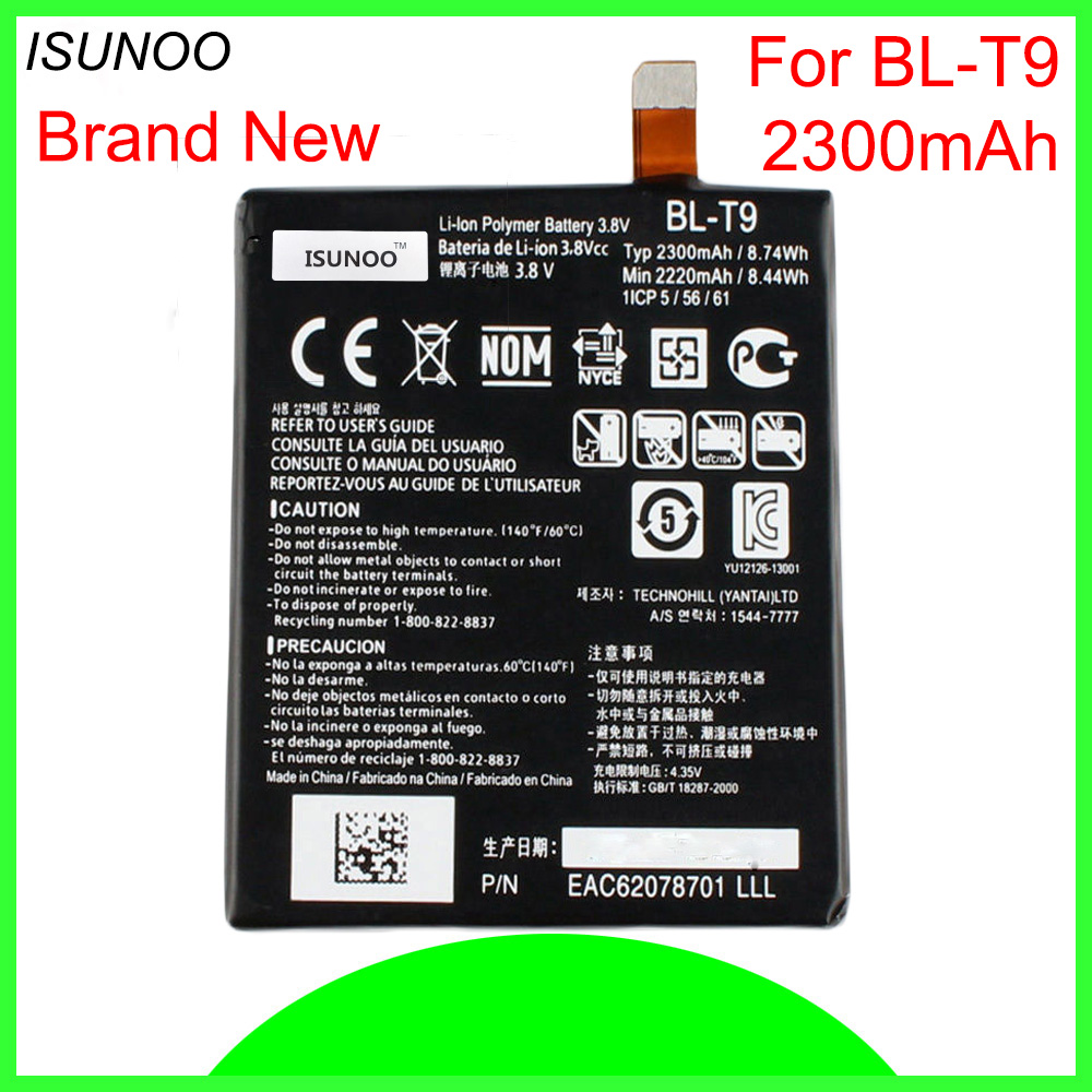 ISUNOO 5pcs/lot 2300mAh <font><b>BL</b></font>-<font><b>T9</b></font> Battery For <font><b>LG</b></font> Google Nexus 5 D820/D821 <font><b>BL</b></font> <font><b>T9</b></font> Li-ion Battery 3.8V With Repair Tools image