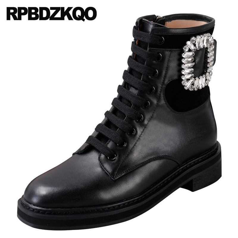 9286d2eead1d Sheepskin Ankle Lace Up Brand Women Winter Boots Genuine Leather Combat  Crystal Military Rhinestone Real Fur Shoes Big Size 9