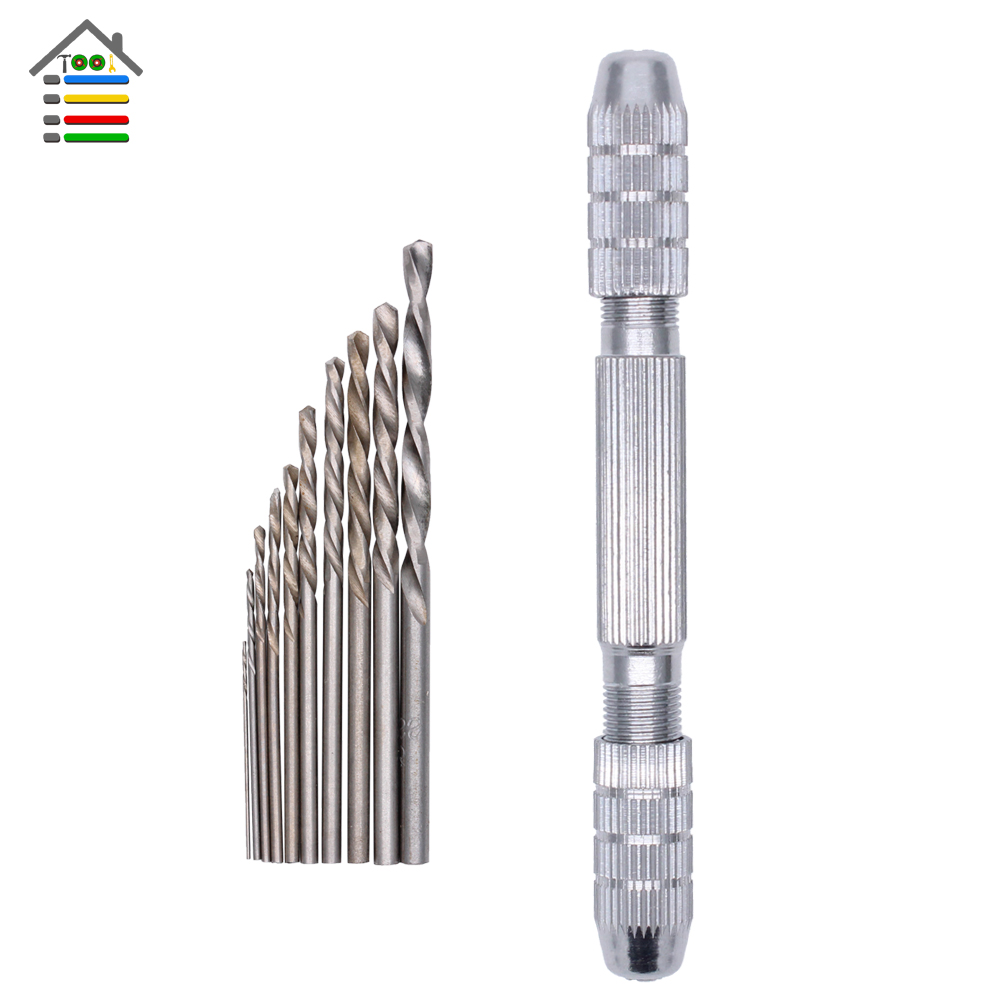 New Mini Double Hand Drill With 10PC 0.8-2.5mm Micro Twist Drill Bits Jewelers Sliding Drilling Metal Spiral Hobby Tool hand twist drill 20pcs micro high speed steel bits jewelers sliding drilling spiral tool drill bit watch repair tools