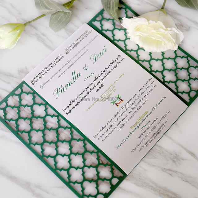 Modern Wedding Invitations   50pcs Personalized Moroccan Gate Laser Cut Elegant Wedding