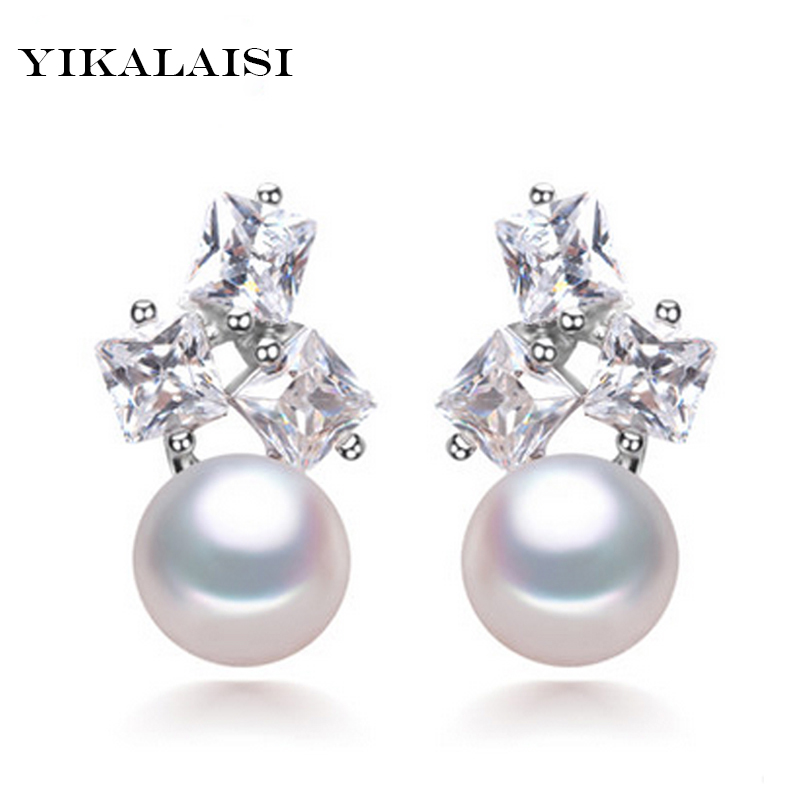 YIKALAISI 2017 new fashion Genuine Natural Pearl stud earrings Pearl Jewelry with 925 sterling Silver jewelry for women copper jewelry leopard head hanging pearl stud earrings tiger head green rhinestone black stud earrings for women