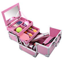Здесь можно купить  HOMDOX Mini Portable Extendable Make up Train Case Makeup Storage Aluminum Cosmetic Box + Mirror + 2 Keys  Home Storage & Organization