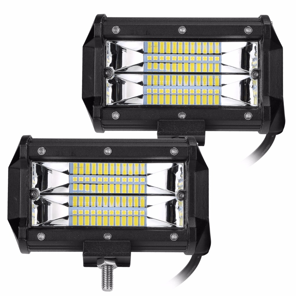 5 pouces 72 w LED light bar spot poutres Conduite projecteurs de travail pour Off Road auto Toyota 4WD 4x4 UAZ moto rampe 12 v 24 v voiture brouillard lampe