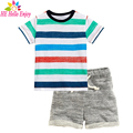 He hello enjoy niños ropa de chicos de verano 2017 de la marca boutique de moda conjuntos muchachos de la ropa de manga corta a rayas de la camiseta + juegos de los cortocircuitos